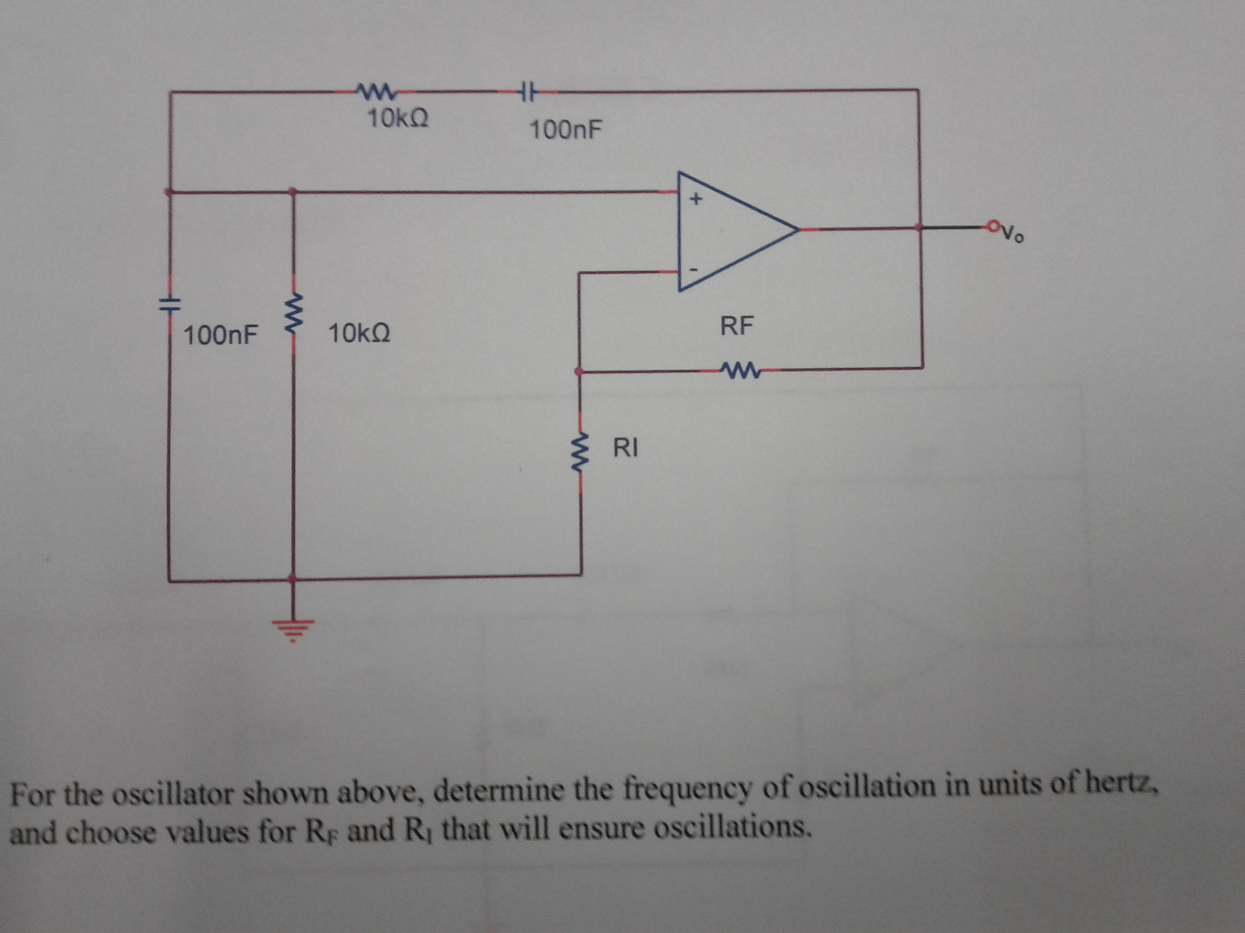 For the oscillator shown above, determine the fr