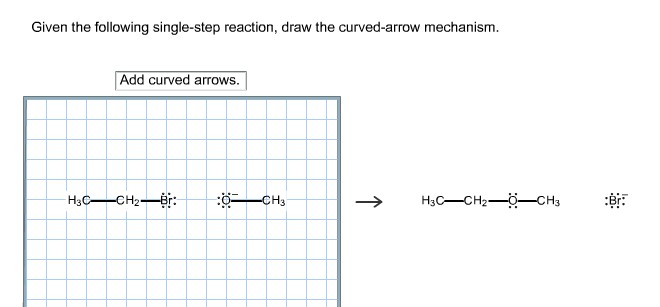 Given the following single-step reaction, draw the