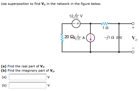 Use superposition to find V0 in the network in the
