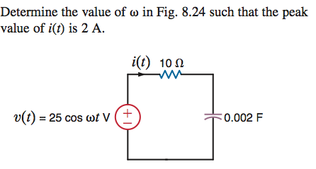 Determine the value of omega in Fig. 8.24 such tha