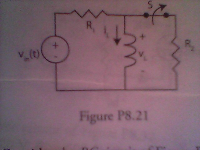 If R1 = 50 ohms, R2 = 200 ohms, L = 2 H, and Vin =