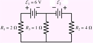 Find currents through the resistors in the circuit
