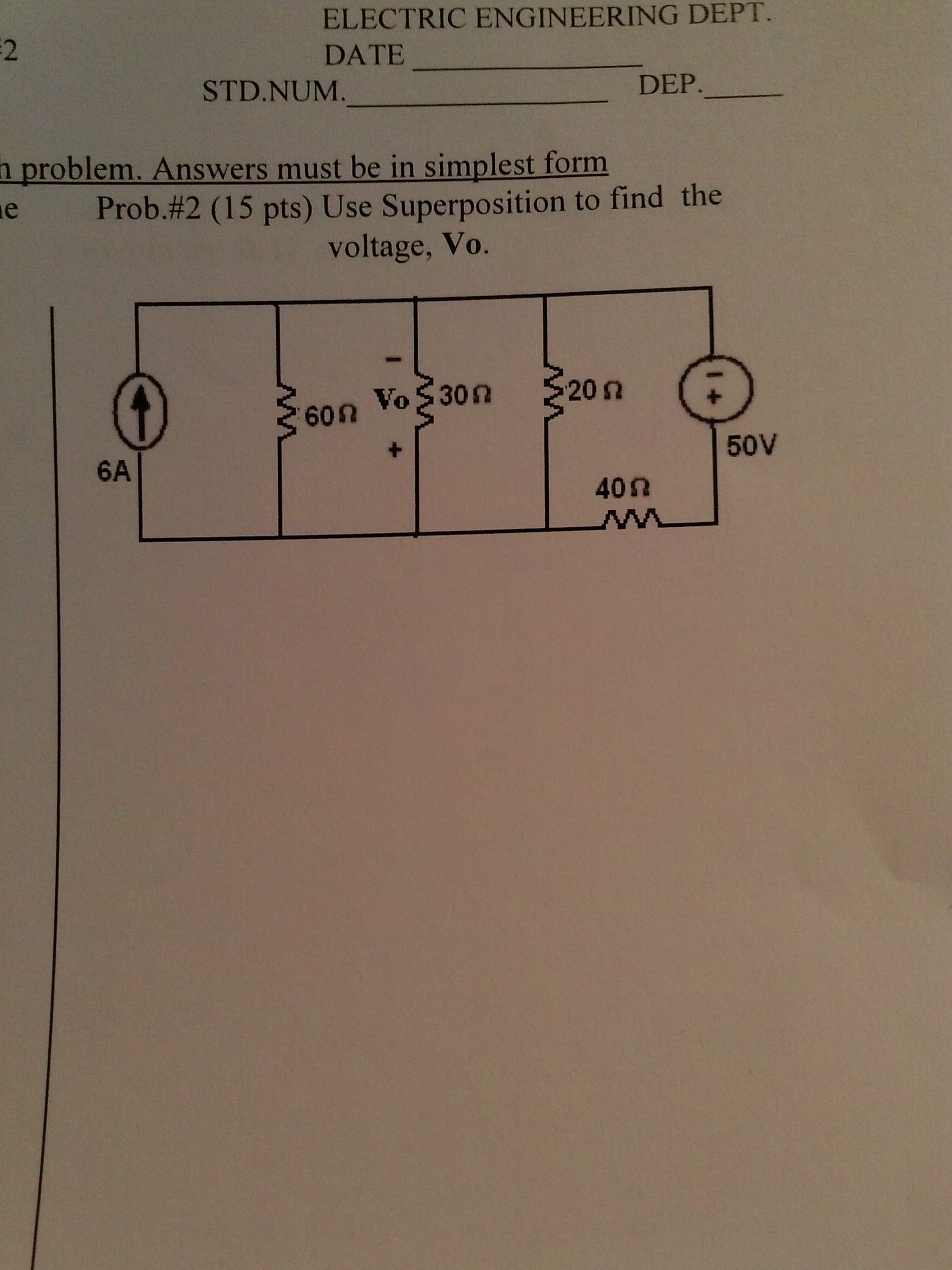 Use superposition to find the voltage, V0.