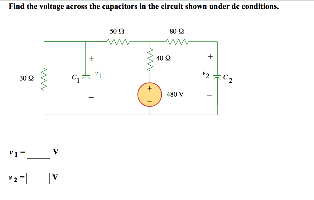 solved  find the voltage across the capacitors in the circ