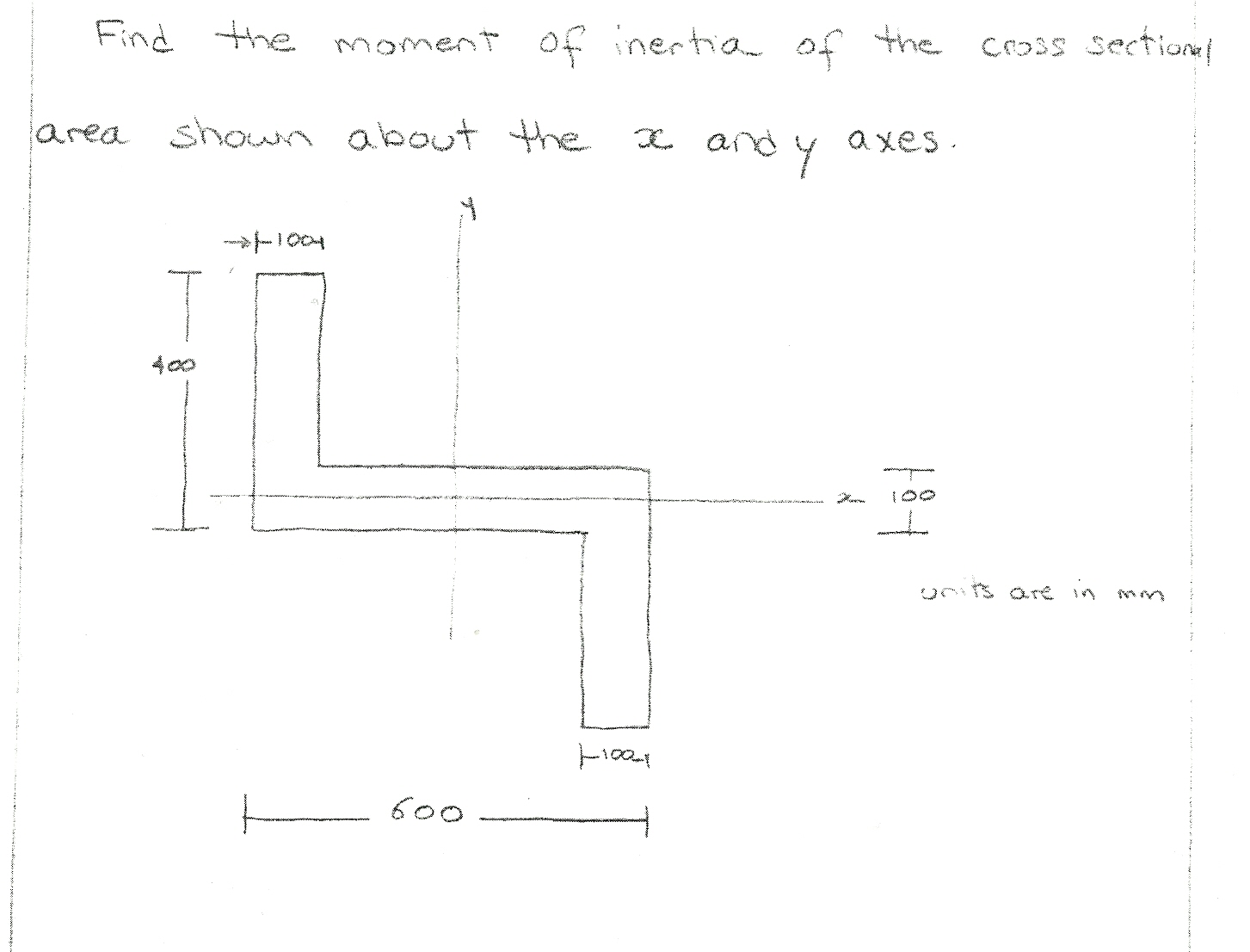 Find the moment of inertia of the cross sectional