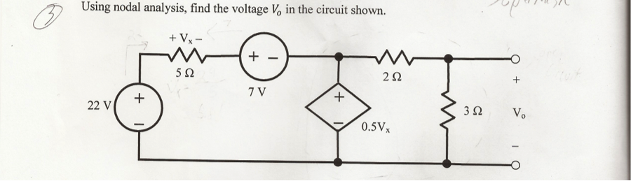 Using nodal analysis, find the voltage V 0 in the