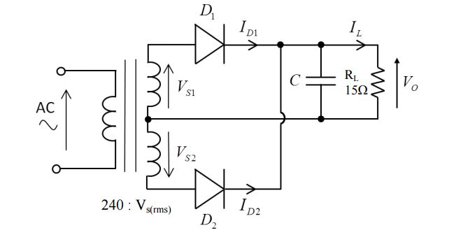 solved  the full wave bridge rectifier circuit below is us
