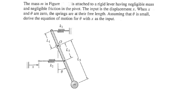 The mass m in Figure is attached to a rigid lever
