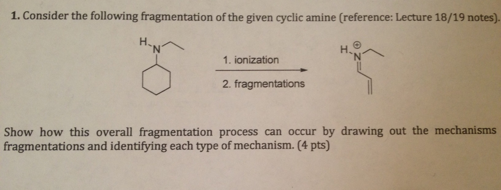 Consider the following fragmentation of the given