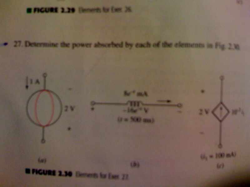 Determine the power absorbed by each of the elemen