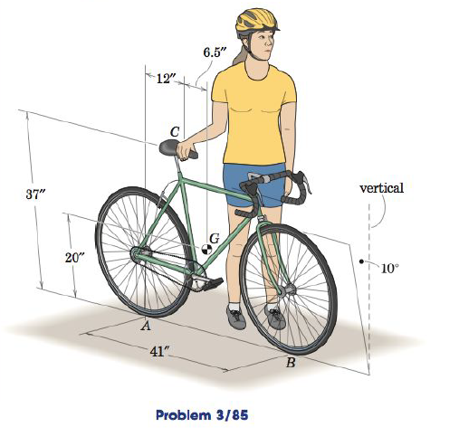 A rider holds her bicycle at the 10 degree angle s