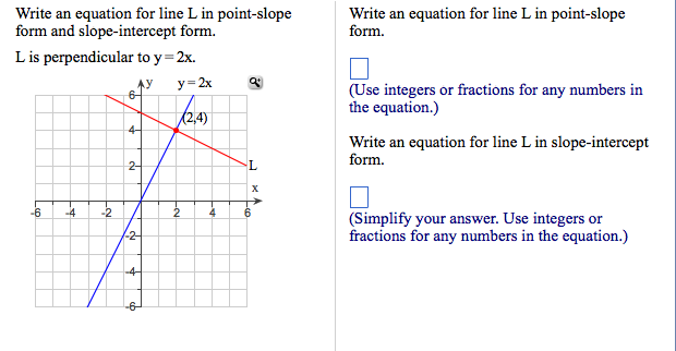 Solved Write An Equation For Line L In Point Slope Form A