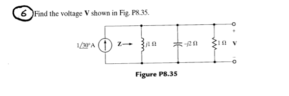 Find the voltage V shown in Fig. P8.35.
