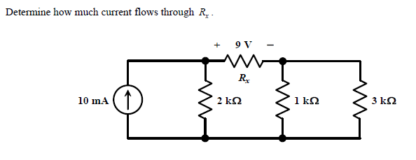 Determine how much current flows through Rx.