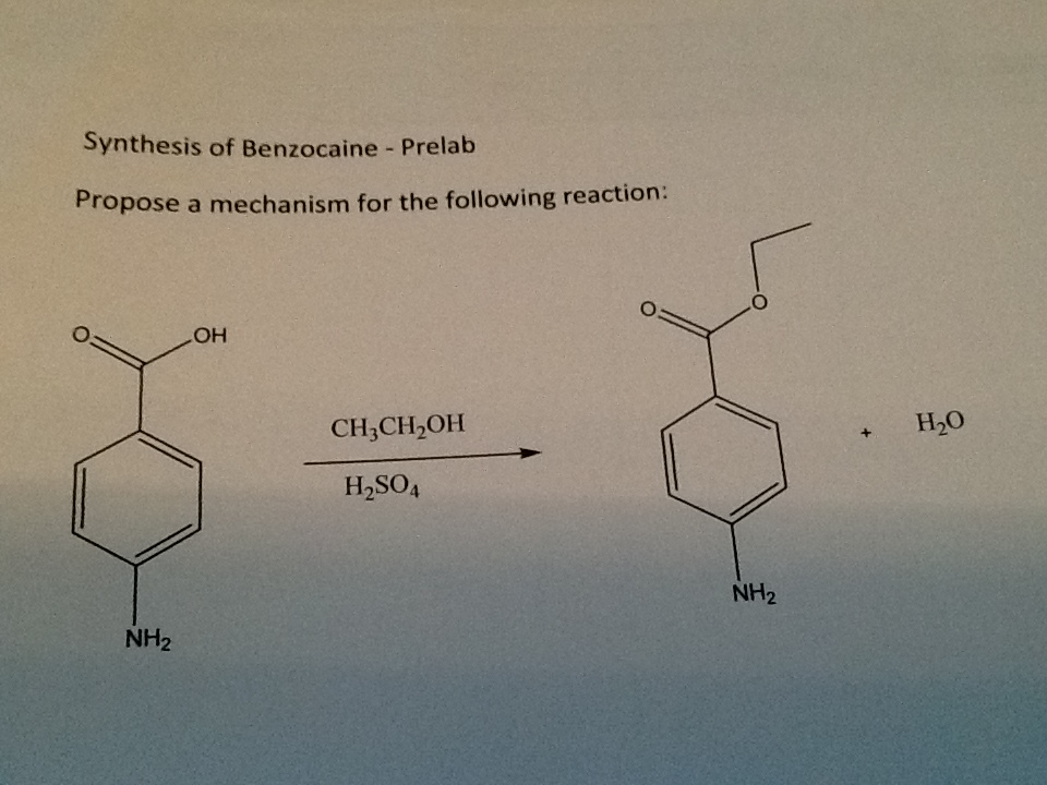 Synthesis of Benzocaine - Prelab Propose a mechani