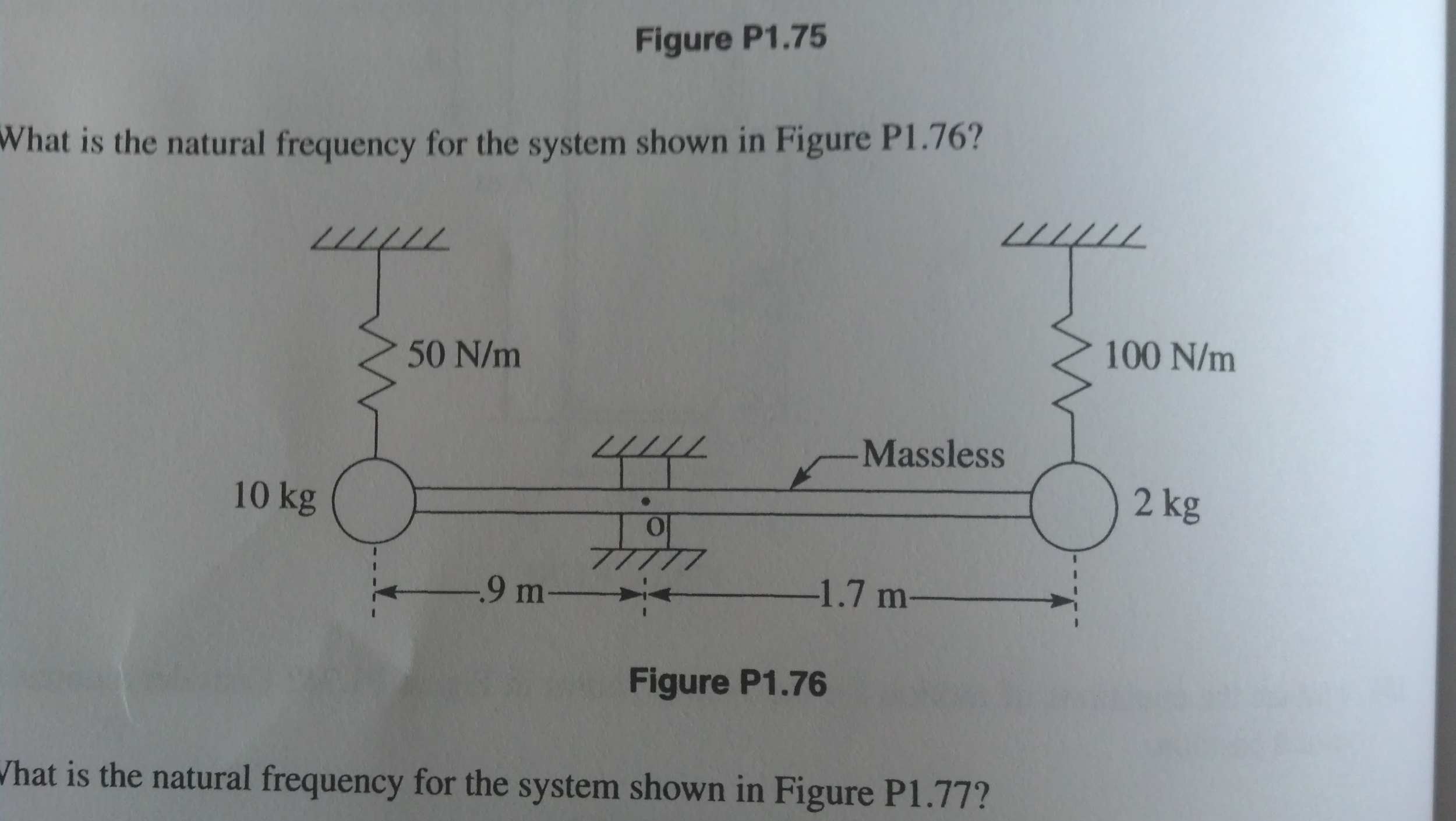 Figure P1.75 What is the natural frequency for th