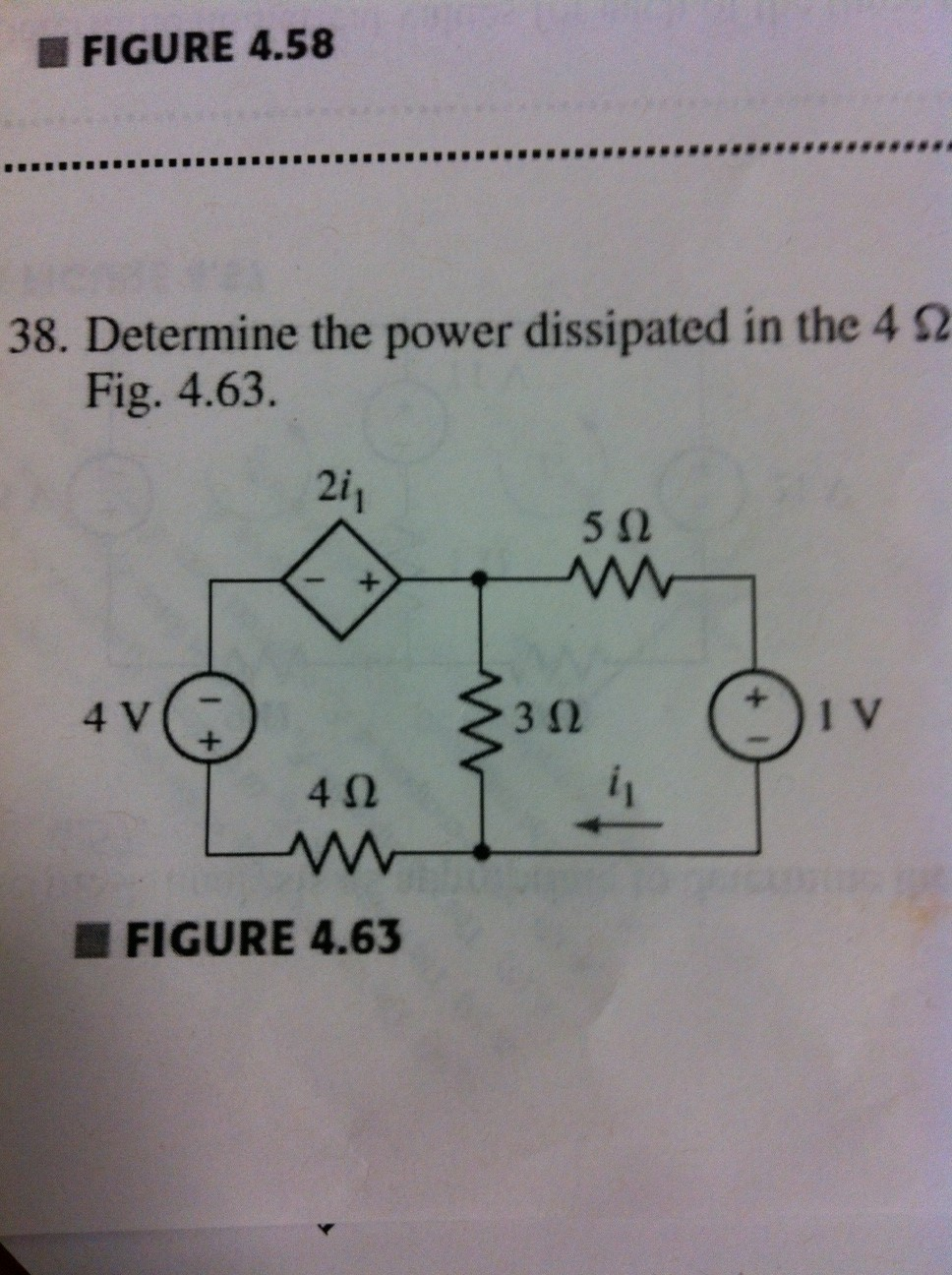 Determine the power dissipated in the 4 ohm