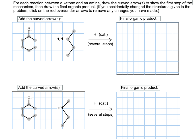 For each reaction between a ketone and an amine, d