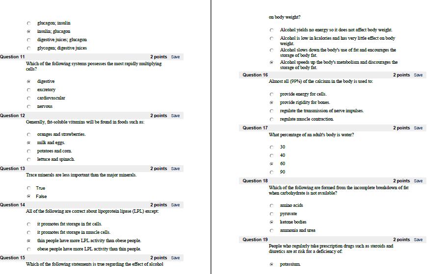 Basic Nutrition Quiz Answers