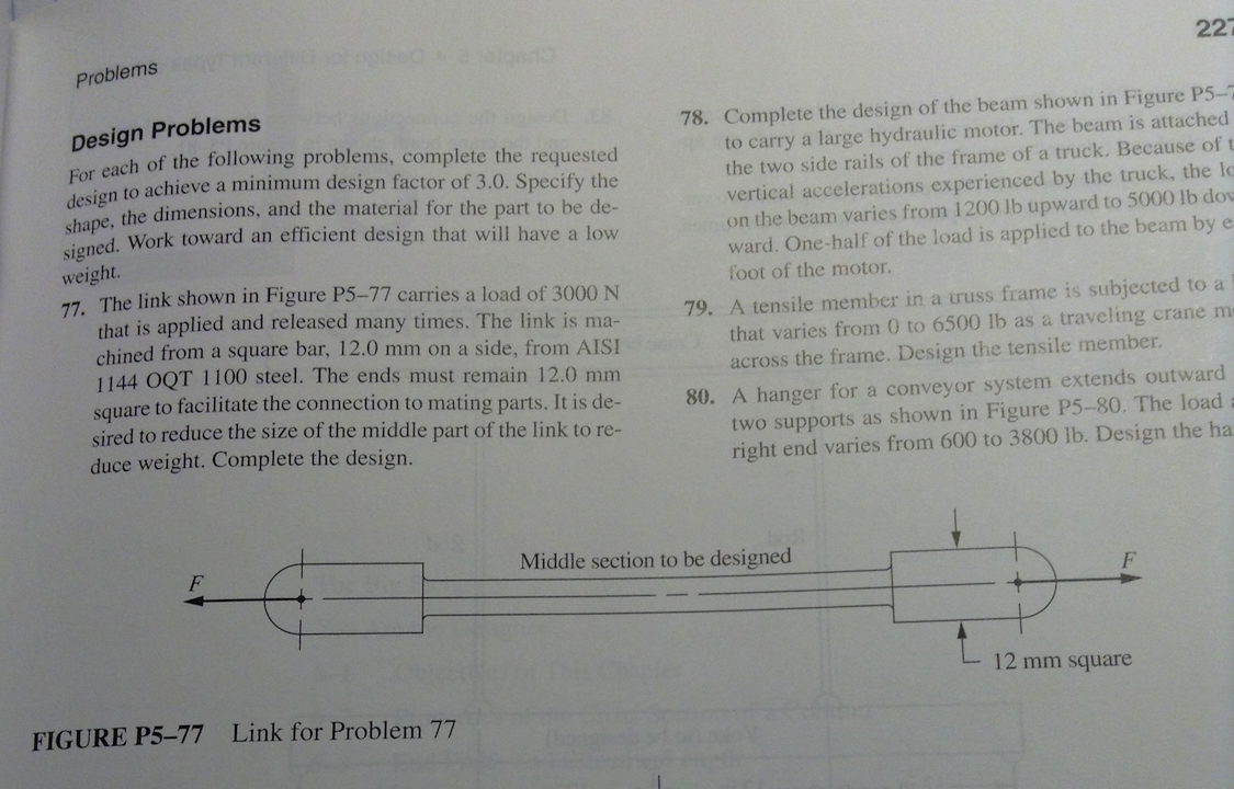 The link shown in Figure P5-77 carries a load of 3