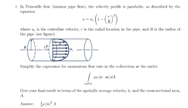 Solved In Poiseuille Flow (laminar Pipe Flow), The Veloci Chegg com
