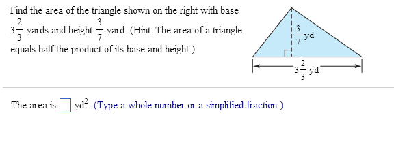 Find the area of the triangle shown on the right w