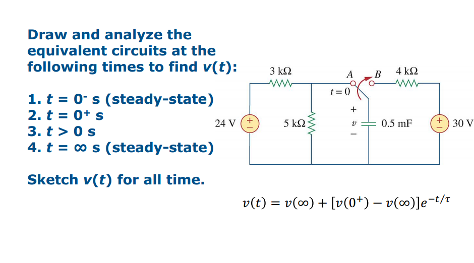 Draw and analyze the equivalent circuits at the fo