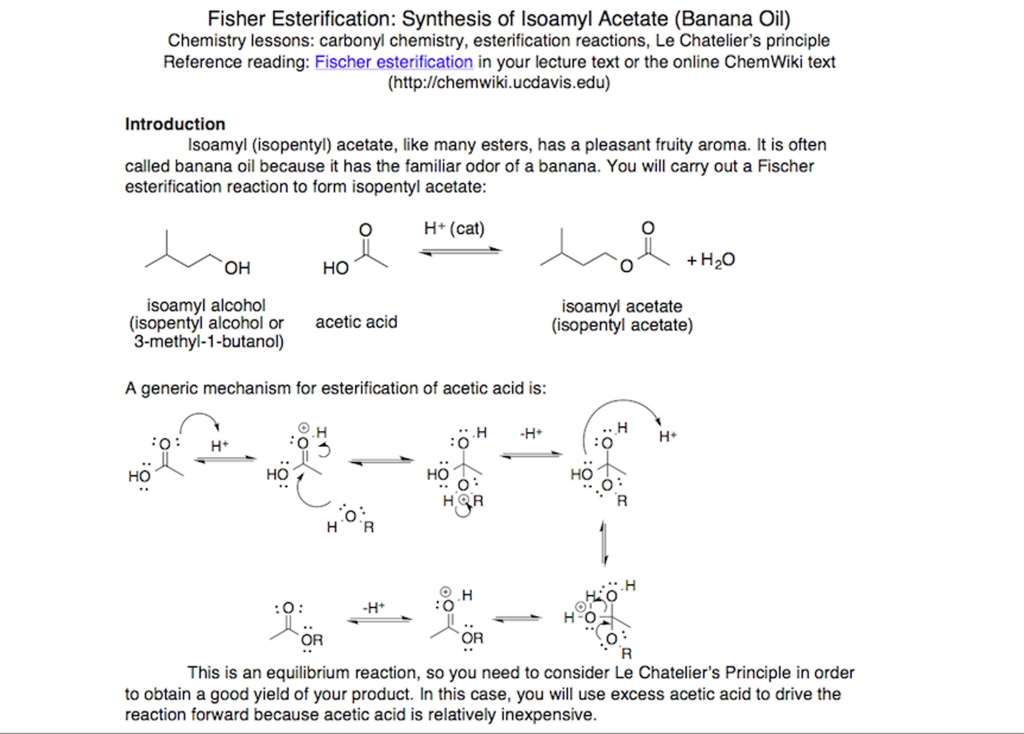 esterification of acetic acid with isopentyl alcohol