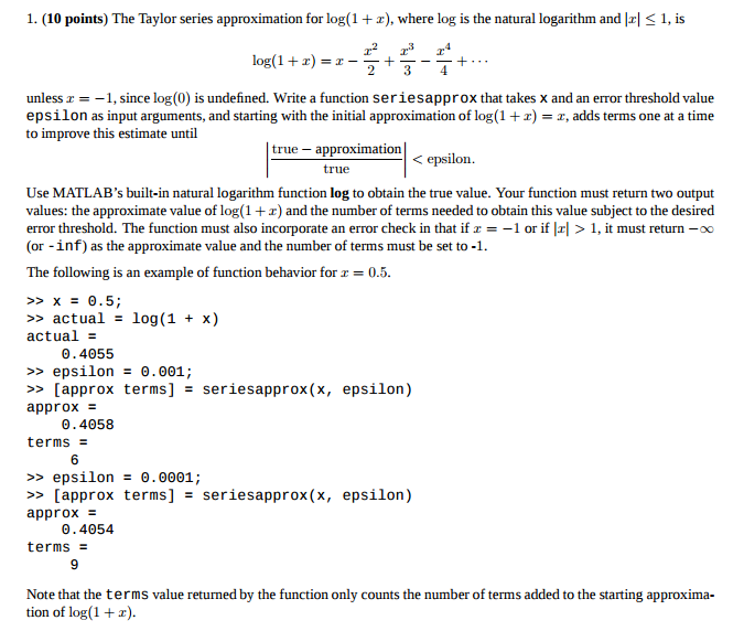 Natural Logarithm Taylor S Series