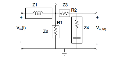 What are Z1, Z2, Z3, and Z4? Use voltage division