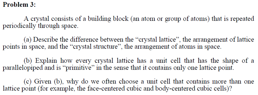 A crystal consists of a building block (an atom or