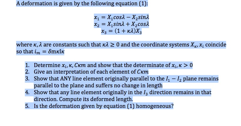 A deformation is given by the following equation [
