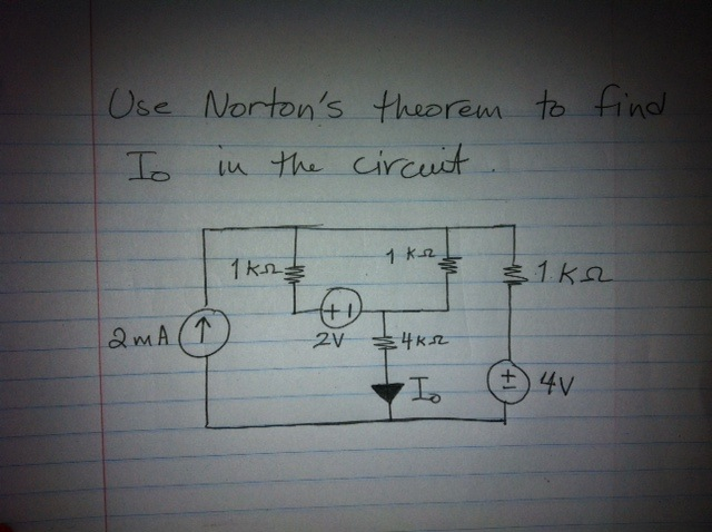 Use Norton's theorem to find Io in the circuit.