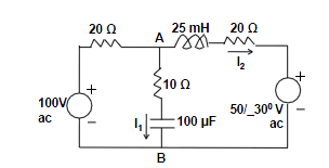 In the circuit above, assuming the frequency to be