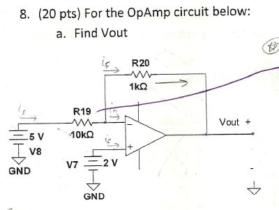 For the OpAmp circuit below: Find Vout