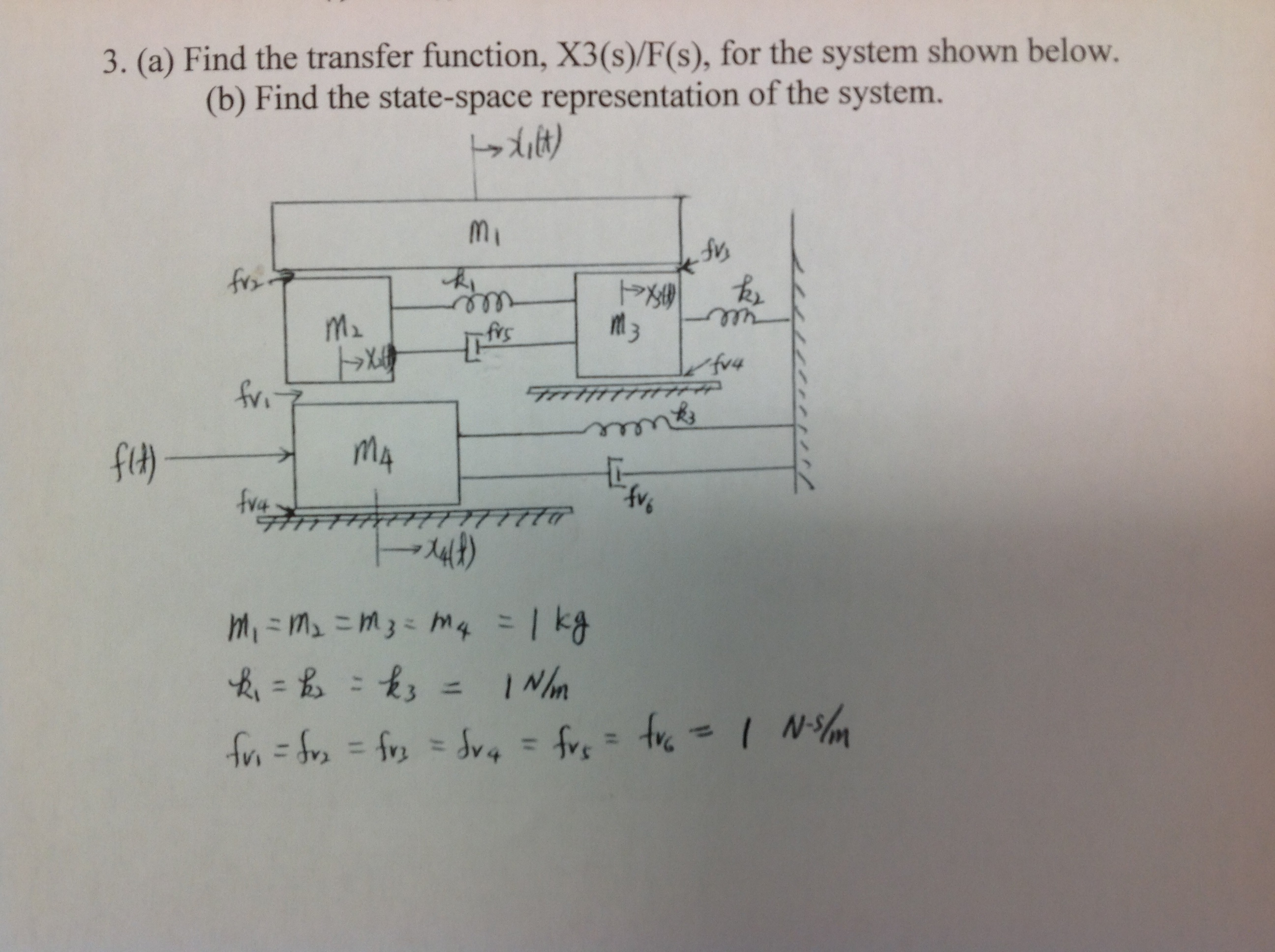 Find the transfer function, X3(s)/F(s), for the sy
