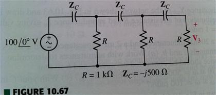 1. (a) Find V3 in the circuit shown in Fig. 10.67.