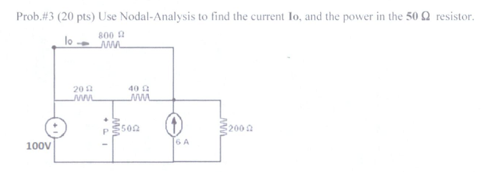 Use Nodal-Analysis to find the current lo, and the
