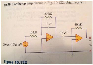 For the op amp circuit in Fig.10.122, obtain v0(t)