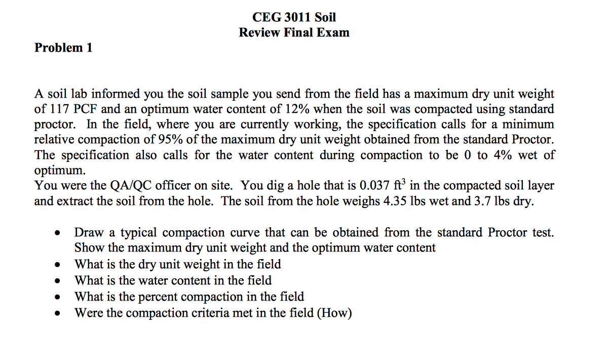 Solved a soil lab informed you the soil sample you send f for Soil unit weight