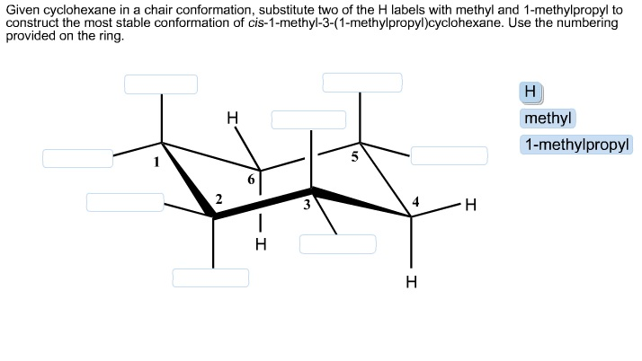 Given cyclohexane in a chair conformation, substit