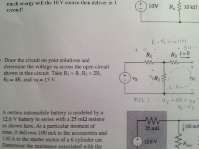 much energy will the 10 V source then deliver in 1