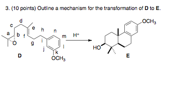 Outline a mechanism for the transformation of D to