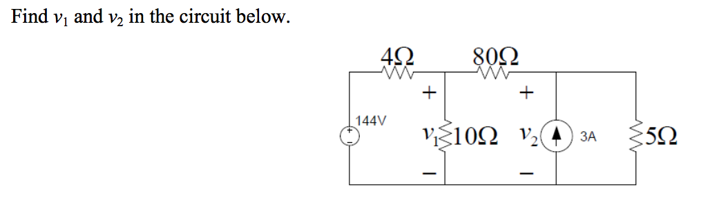 Find v1 and v2 in the circuit below.