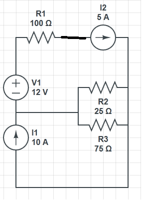 calculate the current through the 25 ohm resistor