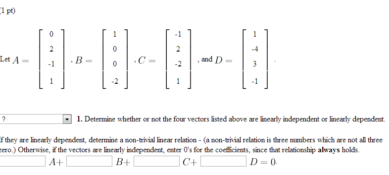 SPEC  Linear Dependence and Independence of Vectors