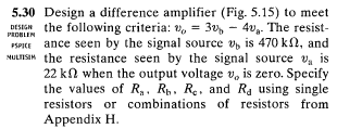 Design a difference amplifier (Fig. 5.15) to meet