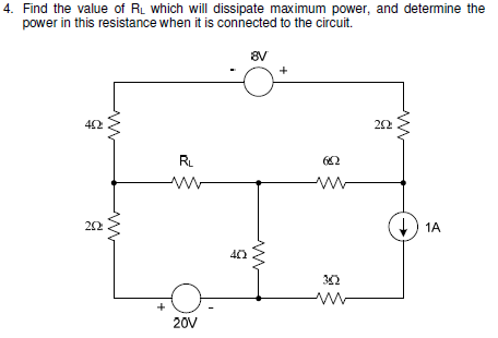 Find the value of RL which will dissipate maximum
