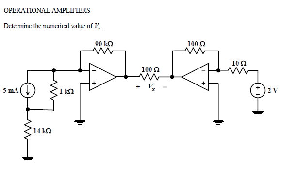OPERATIONAL AMPLIFIERS Determine the numerical va