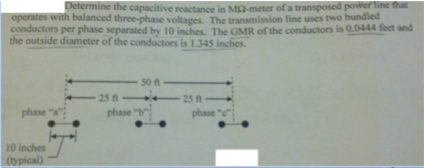 Determine the capacitive reactance in M Ohm-meter